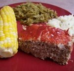 Turkey meatloaf with corn, greenbeans & rice