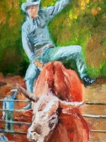 rodeo bull rider painting by Russell Bly