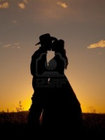 Cowboy couple silhouette