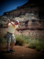 Western Author Stephen Bly playing golf