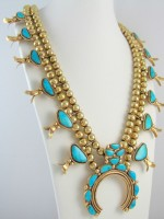 Research methods and squash blossom necklace of gold and turquoise